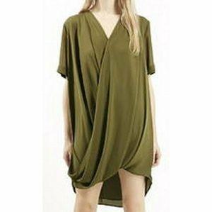 TOPSHOP Olive Green Draped Wrap Dress Size 4